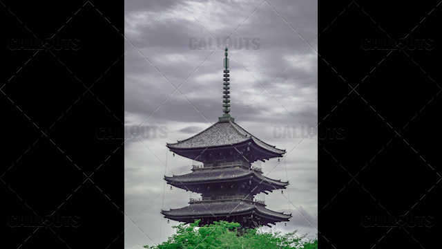 Top of a Buddhist Temple Pagoda, Kyoto Japan.
