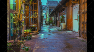 Colorful back street alley in Kyoto, Japan.