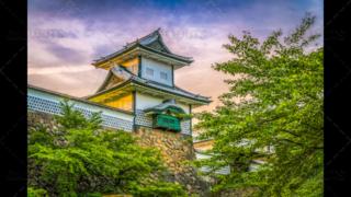 Kanazawa Castle tower, in Kanazawa, Japan.