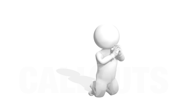 Man Kneeling and Praying 3D Animation on White Background