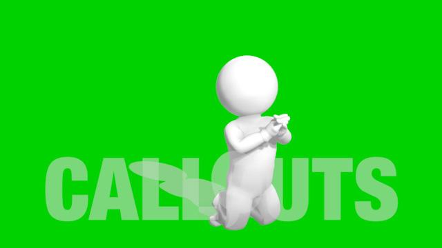 Man Kneeling and Praying 3D Animation on Green Screen