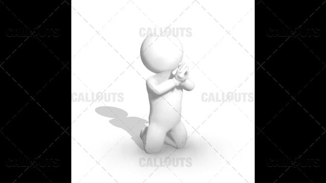 3D Guy Kneeling and Praying