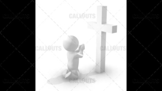 3D Guy Kneeling and Praying in Front of a Cross