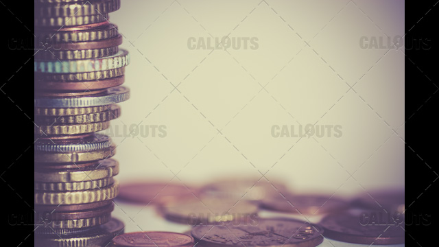 Stack of Coins Left Side, Text Space