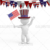 3D Guy Celebrating US Holiday  4th of July Waving Flag White Background