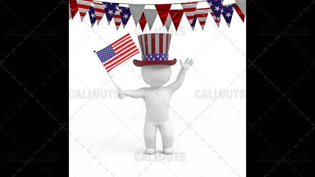 3D Guy Celebrating US Holiday  4th of July Waving Flag White Background