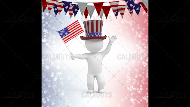 3D Guy Celebrating US Holiday  4th of July Waving Flag Star Background