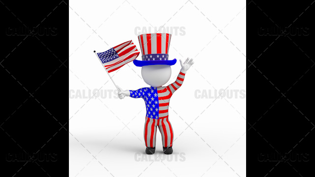 3D Guy Celebrating US Holiday  4th of July Wearing US Flag Clothes