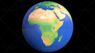 Flat Styled Planet Earth Globe Showing Africa