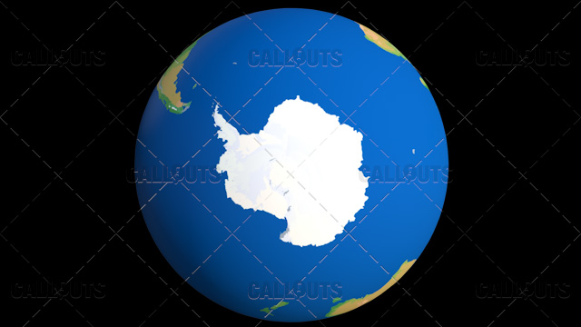 Flat Styled Planet Earth Globe Showing Antarctica