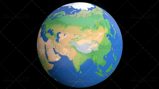 Flat Styled Planet Earth Globe Showing Asia