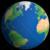 Flat Styled Planet Earth Globe Showing Atlantic Ocean