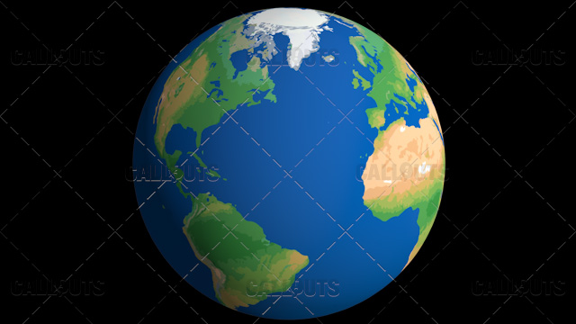 Flat Styled Planet Earth Globe Showing Atlantic Ocean