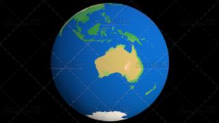 Flat Styled Planet Earth Globe Showing Australia