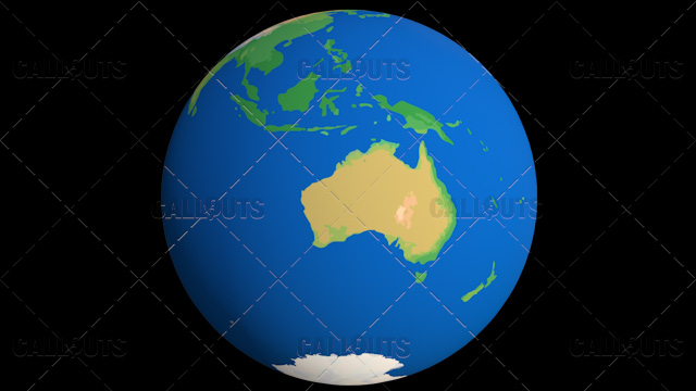 Flat Styled Planet Earth Globe Showing Australia