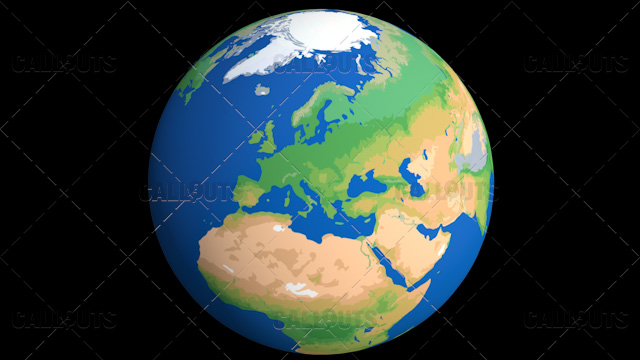 Flat Styled Planet Earth Globe Showing Europe