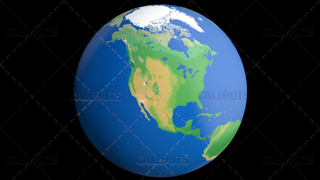 Flat Styled Planet Earth Globe Showing North America
