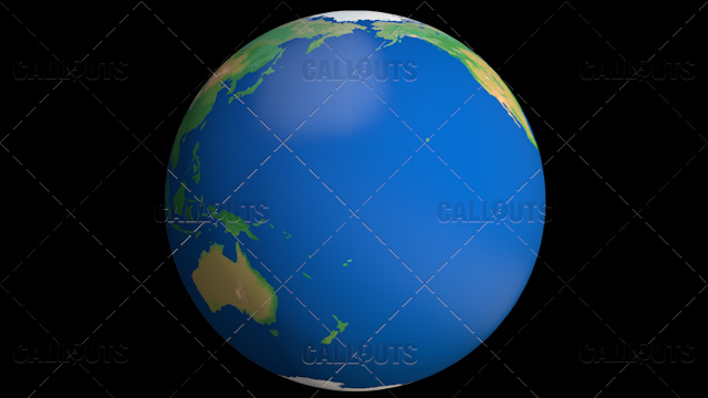 Flat Styled Planet Earth Globe Showing Pacific Ocean