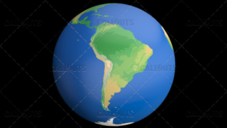 Flat Styled Planet Earth Globe Showing South America