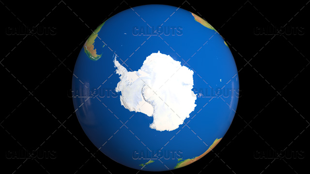 Shiny Styled Planet Earth Globe Showing Antarctica