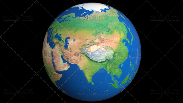 Shiny Styled Planet Earth Globe Showing Asia
