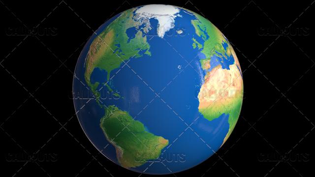 Shiny Styled Planet Earth Globe Showing Atlantic Ocean
