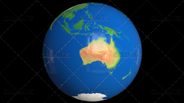 Planet Earth Globe with Clouds Showing Australia