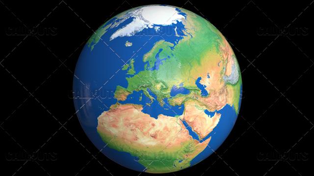Shiny Styled Planet Earth Globe Showing Europe