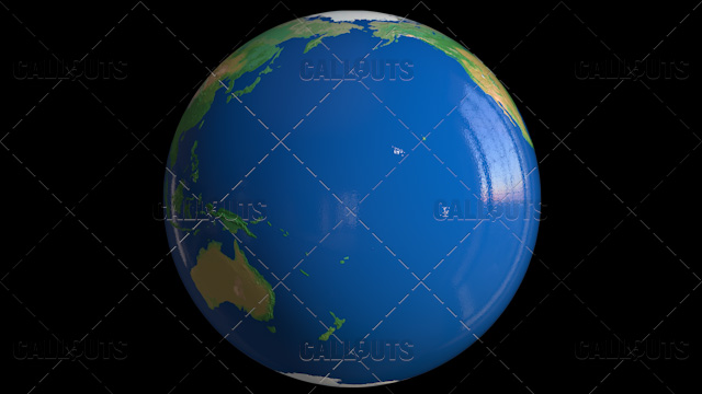 Shiny Styled Planet Earth Globe Showing Pacific Ocean