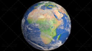 Planet Earth Globe with Clouds Showing Africa