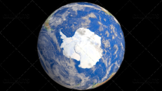 Planet Earth Globe with Clouds Showing Antarctica