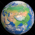 Planet Earth Globe with Clouds Showing Asia