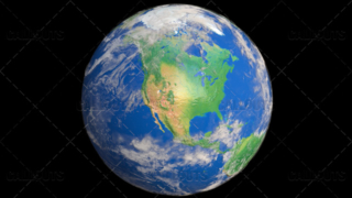 Planet Earth Globe with Clouds Showing North America