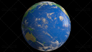 Planet Earth Globe with Clouds Showing Pacific Ocean