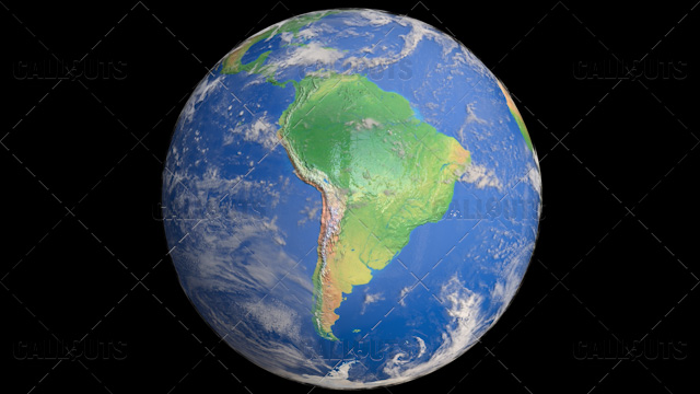Planet Earth Globe with Clouds Showing South America