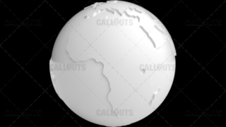 Stylized White Planet Earth Globe Showing Africa