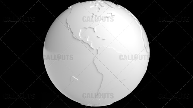 Stylized White Planet Earth Globe Showing Americas