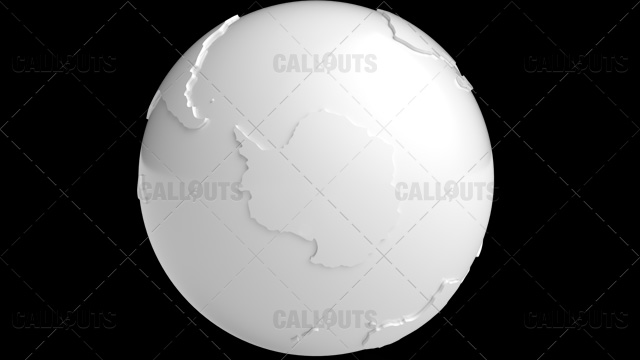 Stylized White Planet Earth Globe Showing Antarctica