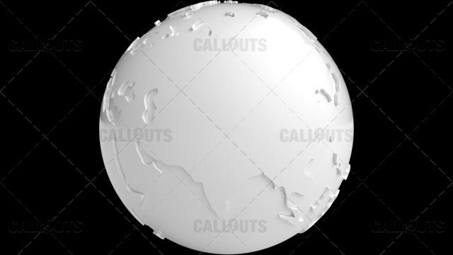 Stylized White Planet Earth Globe Asia