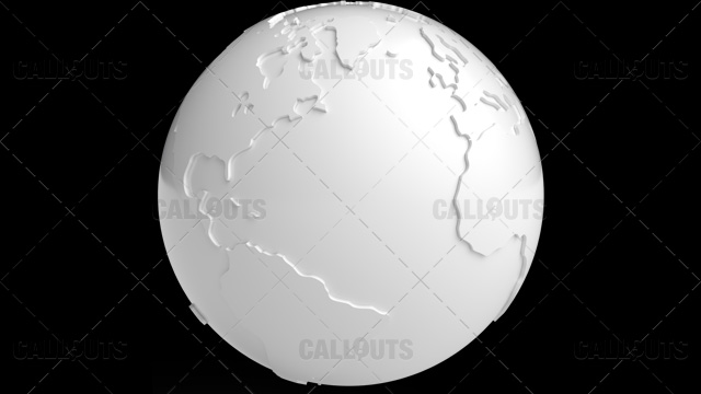 Stylized White Planet Earth Globe Showing Atlantic Ocean