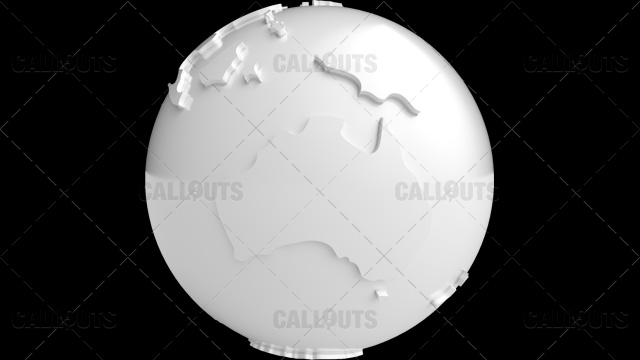 Stylized White Planet Earth Globe Showing Australia