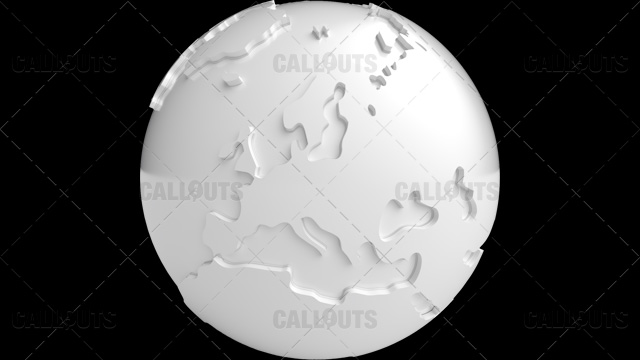 Stylized White Planet Earth Globe Showing Europe