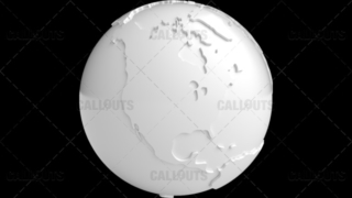 Stylized White Planet Earth Globe North America