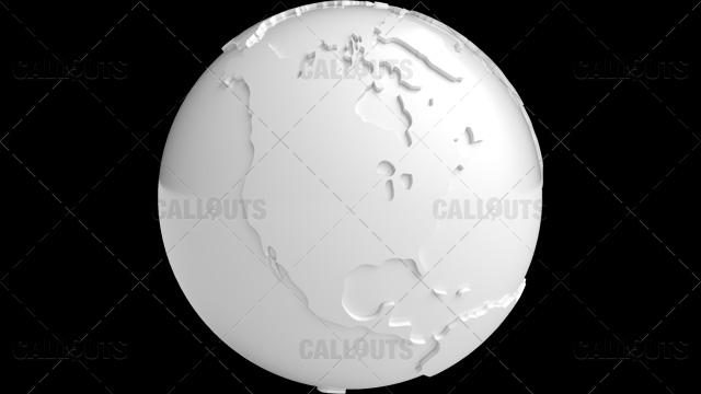 Stylized White Planet Earth Globe North America