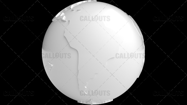 Stylized White Planet Earth Globe South America
