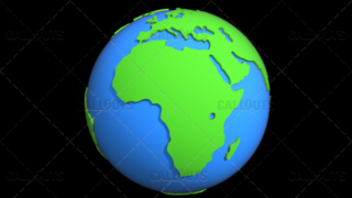 Stylized Two-Colored Flat Planet Earth Showing Africa