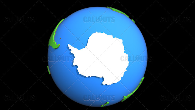 Stylized Two-Colored Flat Planet Earth Showing Antarctica