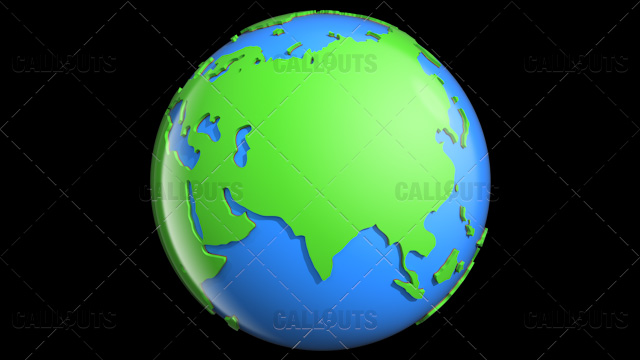 Stylized Two-Colored Glossy Planet Earth Showing Asia