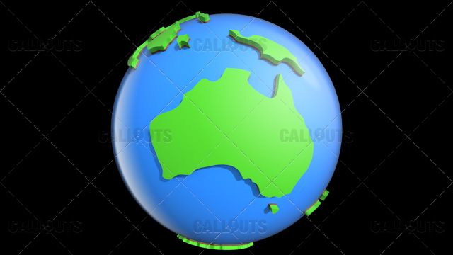 Stylized Two-Colored Glossy Planet Earth Showing Australia