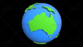 Stylized Two-Colored Flat Planet Earth Showing Australia
